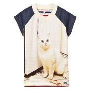 Anne Kurris Cat Print Chiffon and Stripe Jersey Dress 4 years