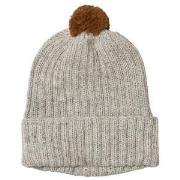 Huttelihut Baby Knitted Hat Ribbed Light Grey / Oak Pompom 12-18 mnd