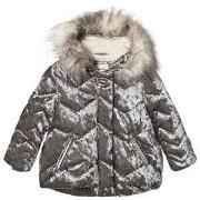 Catimini Silver Velour Padded Coat 5 years