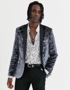 Twisted Tailor super skinny velvet blazer with cracked print in gunmet...