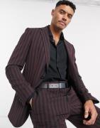 Lockstock Warwick stripe suit jacket in burgundy-Red