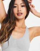 Only Play sugar circular ruched detail sports bra in grey