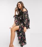Dark Pink off shoulder smock dress in navy country floral