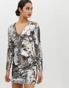 Parisian all over sequin v-neck dress-Gold