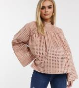 ASOS DESIGN Maternity long sleeve smock top with high neck in grid che...