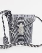 Calvin Klein bucket bag with lock in snake-Black