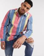 ASOS DESIGN regular stripe 90s rugby shirt in blue and yellow-Red